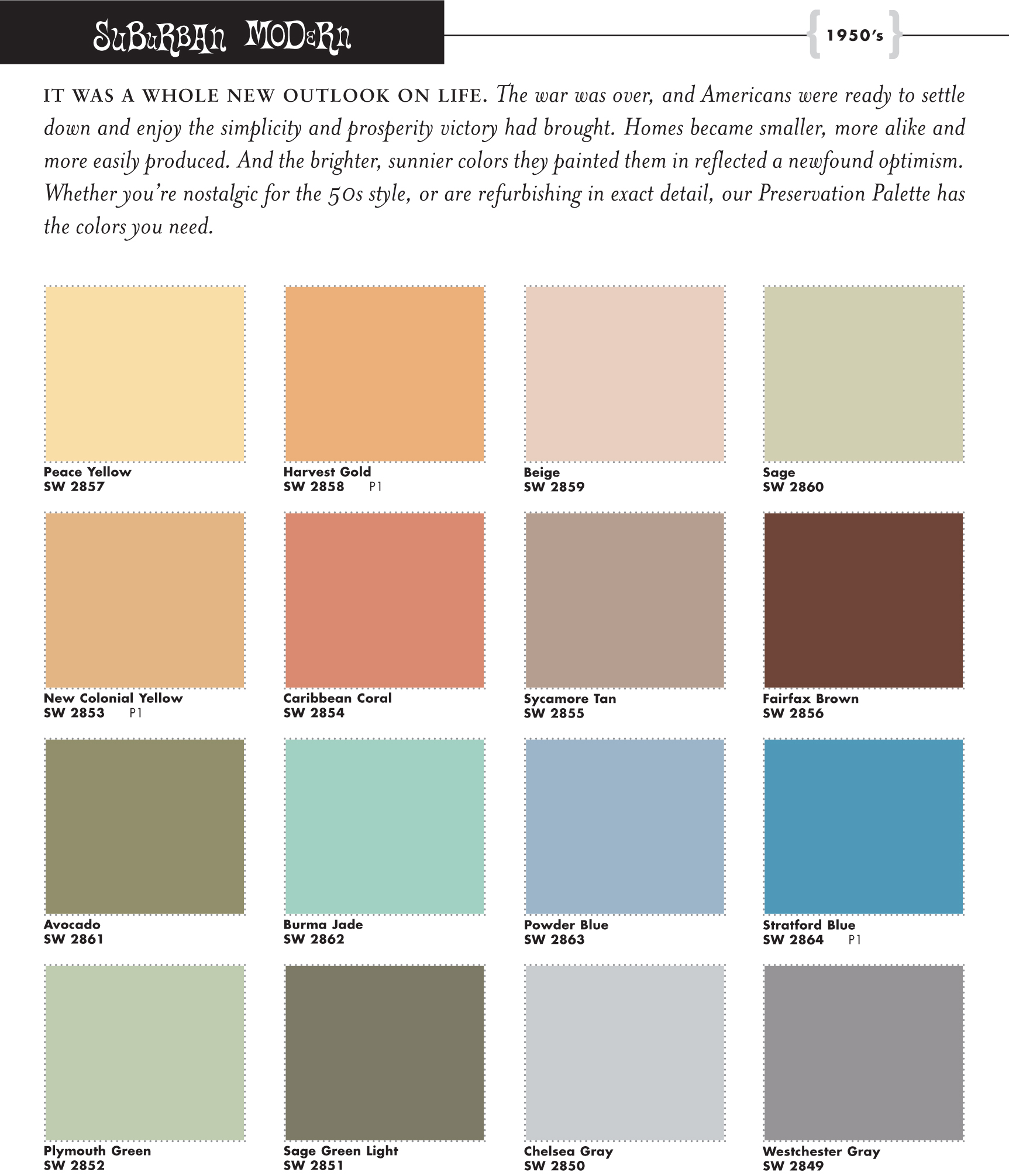Sherwin Williams Suburban Modern Preservation Palette