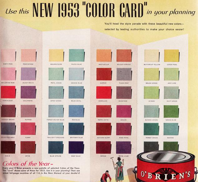 O Brien S Paint 1953 Color Card